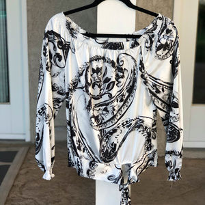 White House Black Market Blouse with Tie Bottom